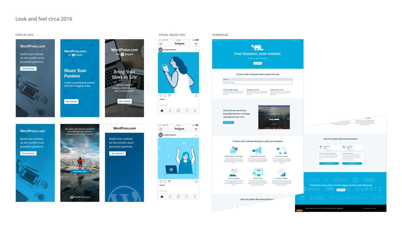 WordPress.com marketing elements circa 2016