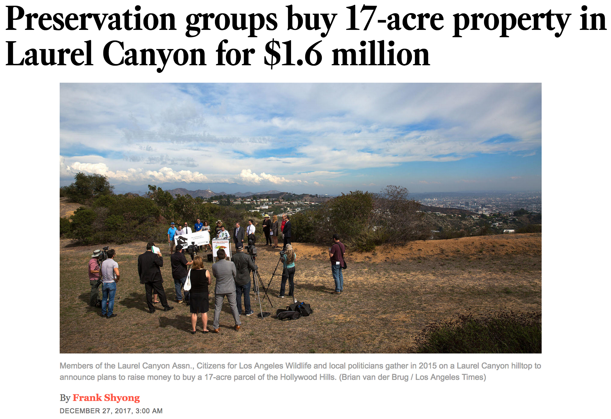 "The LA Times covers the successful acquisition of the ""Let's Buy A Mountain"" land."