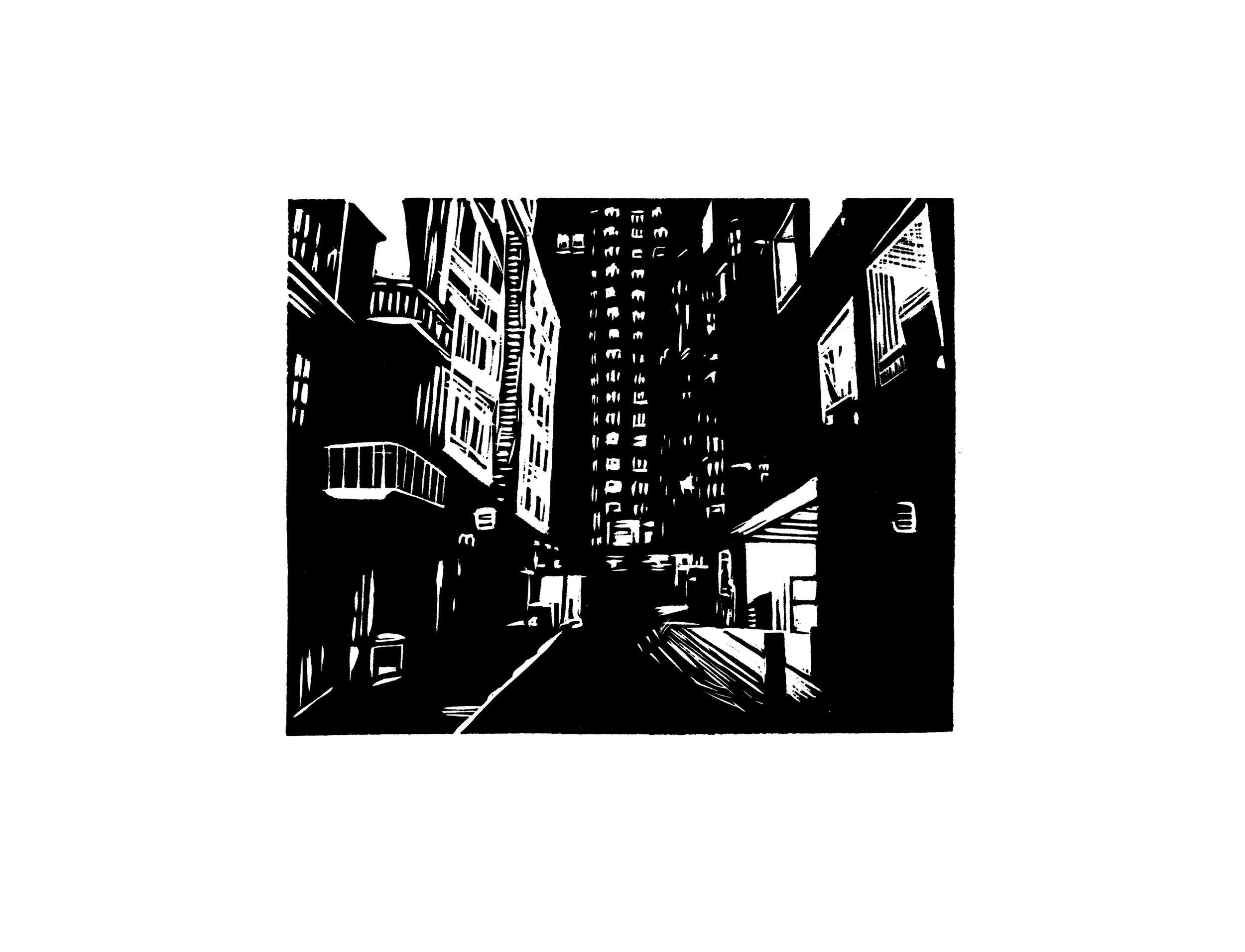 Night Alley, linocut, 2015