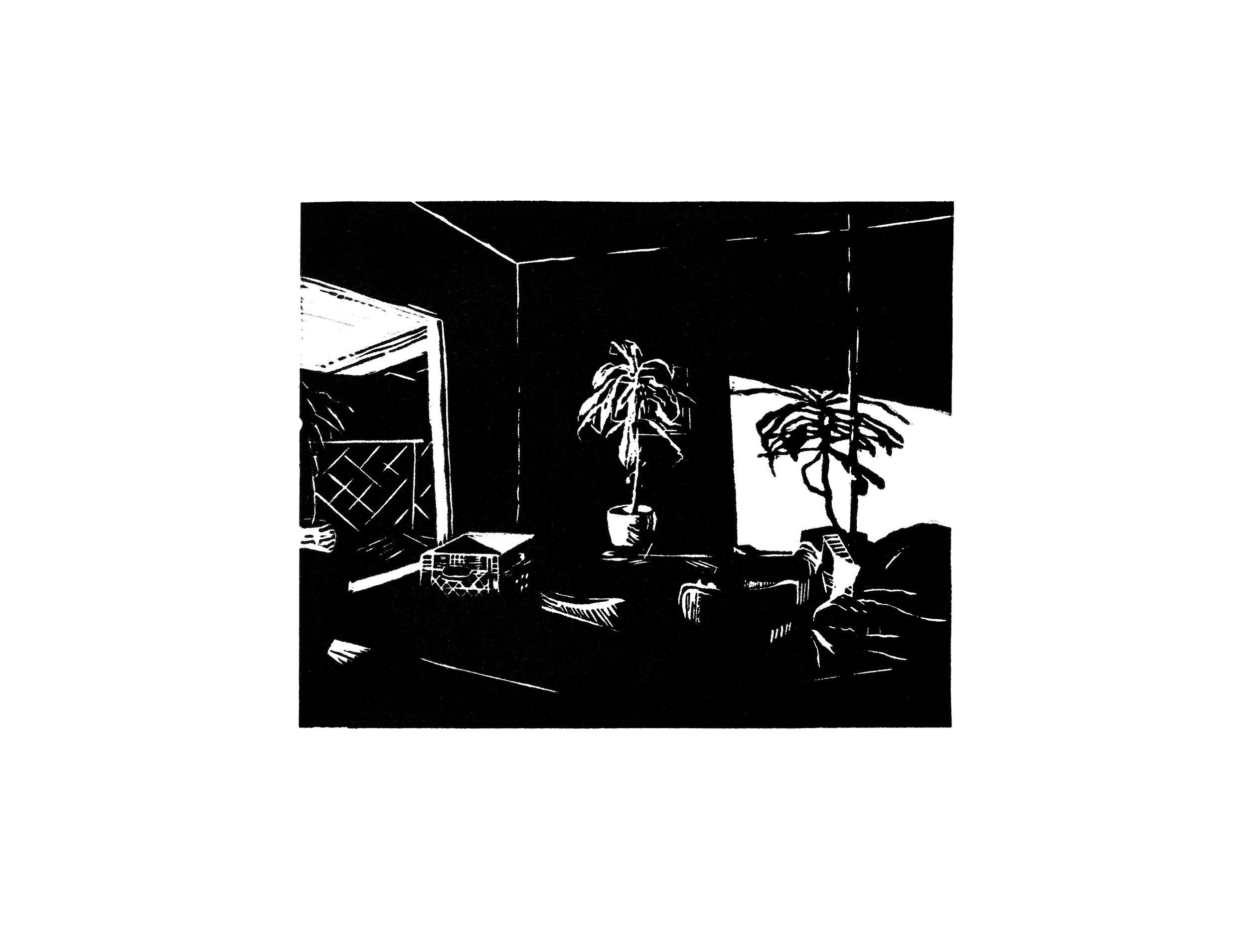Lone Palm, linocut, 2015