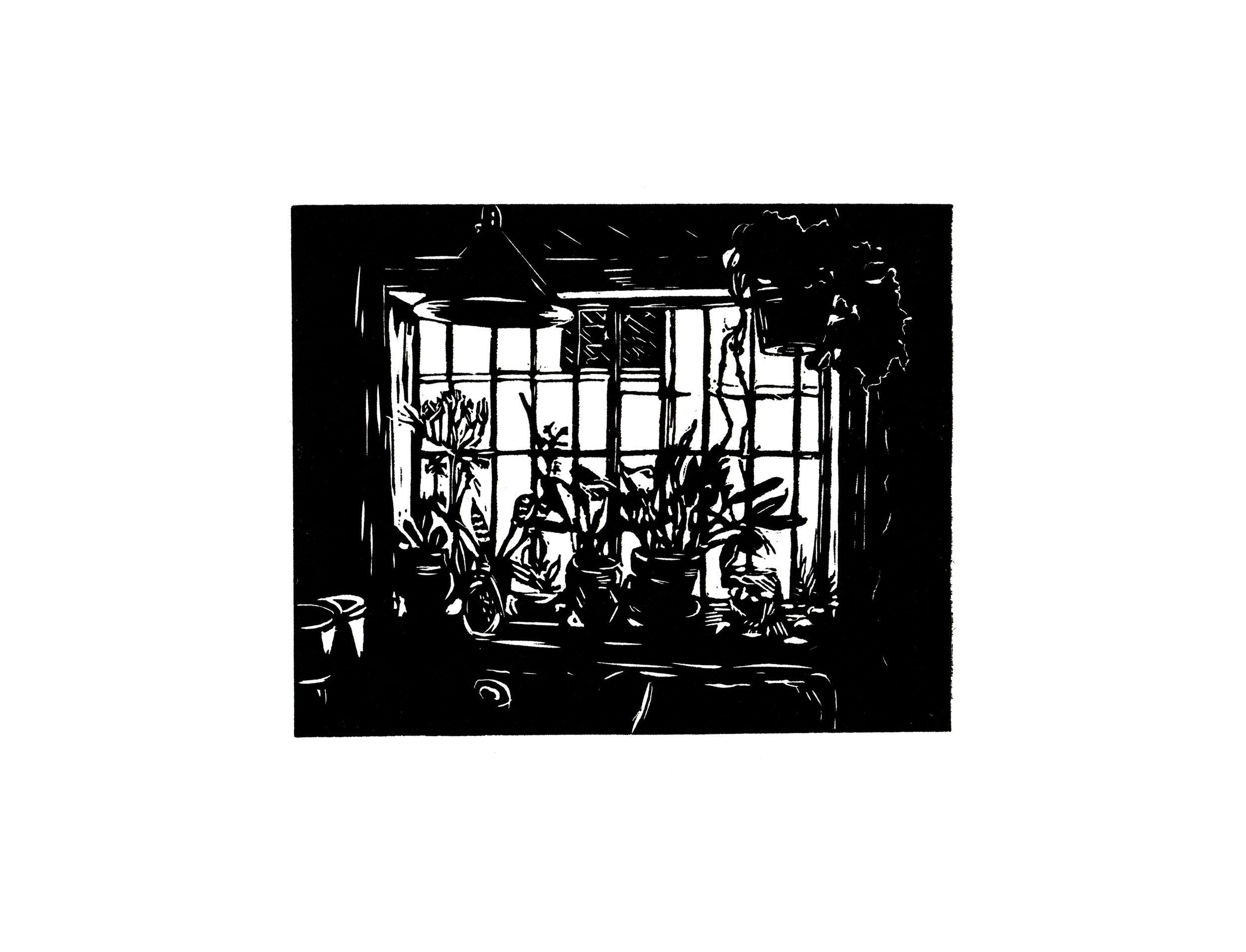 Plants on a Sill, linocut, 2015