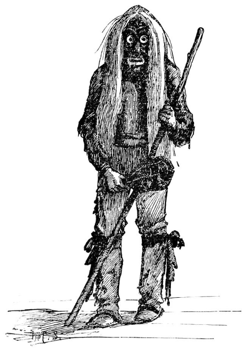 A dancer of an Iroquois False Face Society.  Image compliments of Popular Science Monthly (1892), Vol. 41.,  New York, Popular Science Pub. Co., etc. Pg. 740.  Accessed online [1/1/15]. Click image to for source url.