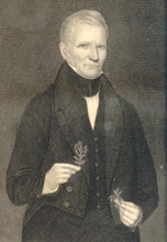 Samuel Thomson (1769-1843), the father of Western herbal medicine. Holding his beloved No. 1,  Lobelia inflata.  Photo compliments of Center for the History of Medicine.
