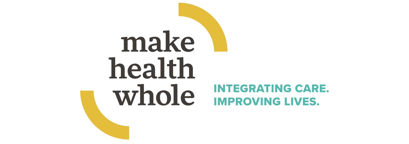 The Make Health Whole logo is comprised of a word mark set in lower case contained by two arched shapes. The lower case setting conveys approachability and accessibility, while the boldness and strong serifs emphasizes the power of the movement. The arched shapes are pieces of a circle, positioned in such a way as to communicate movement, containment, and expansiveness. Together, they make an emphatic invitation to join the movement and Make Health Whole.