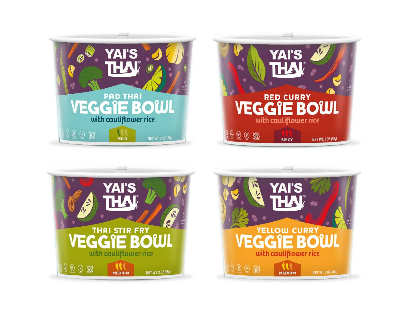 We evolved the packaging for this new product innovation — a set of healthy grab-and-go bowls. to create a stronger brand statement, we set the logo free from it's purple circle, and instead integrated the logo and veggie illustrations into a strong, recognizable purple banner that will appear across product lines. The peaked Thai roof remains as a strong graphic element to contain the flavor names.