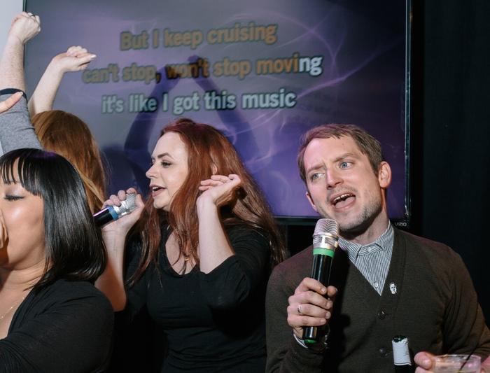 Elijah Wood shaking it off at our Karaoke party!!!
