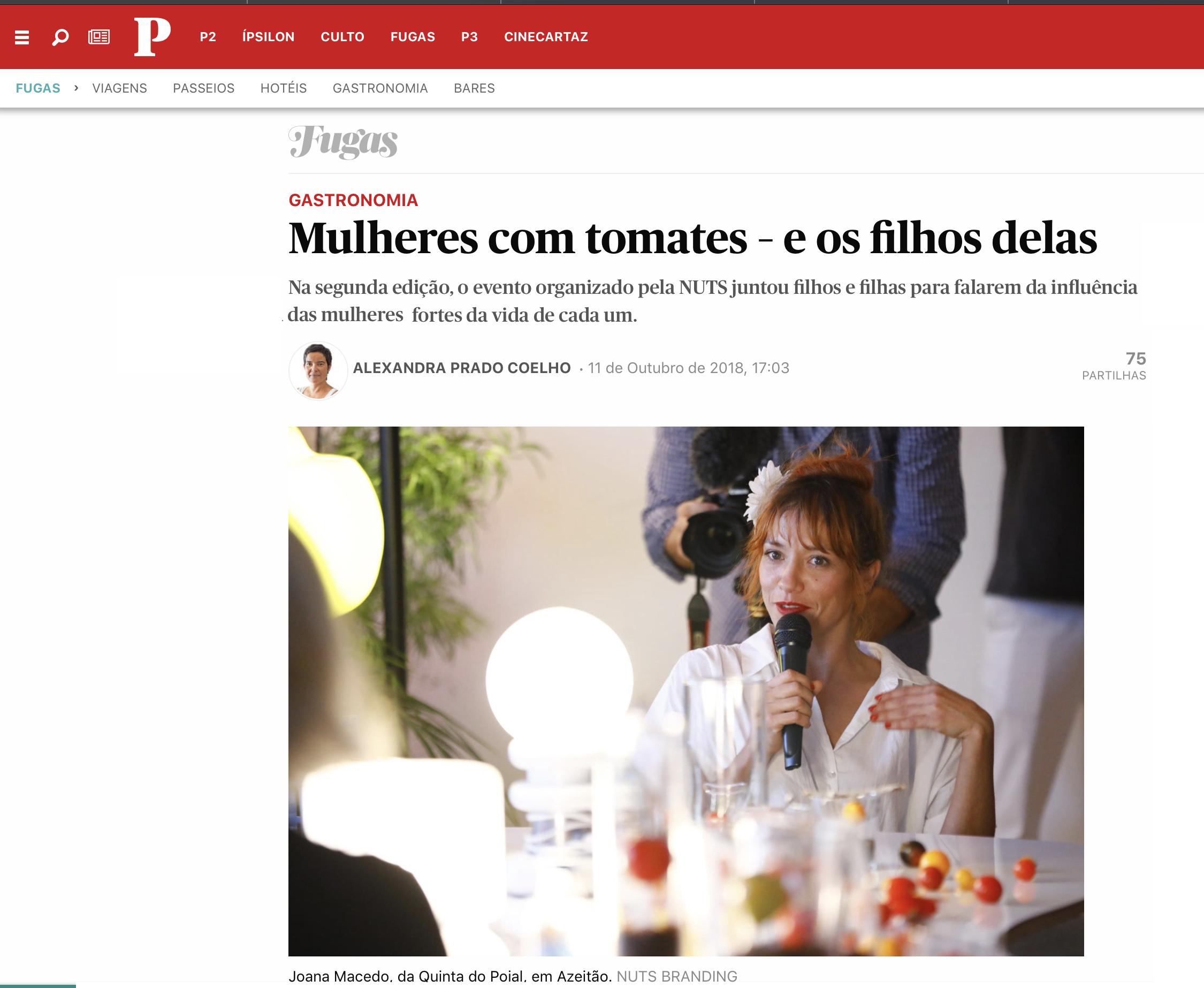 O artigo no Público pela jornalista Alexandra Prado Coelho