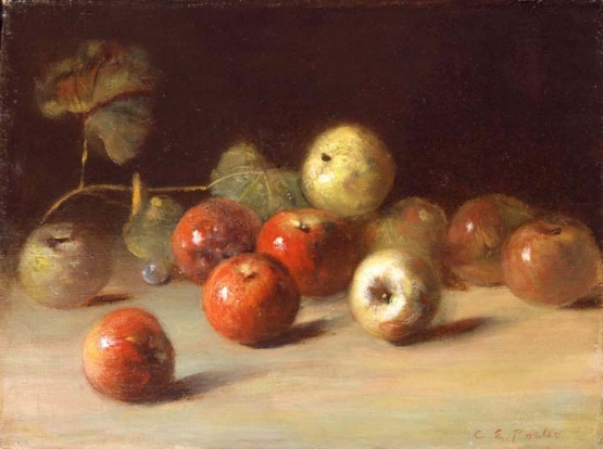 """""""Apples"""", by Charles Ethan Porter.   References to the work of a former neighbor in time and space.      Wikipedia's fine Biography of Charles Ethan Porter at this link - click, please.  Charles Ethan Porter  (c. 1847 – March 6, 1923) was born near Hartford, and, among other things,was a protege of Mark Twain, who raised the money to send Mr. Porter to Paris to refine the training of the talented Rockville, Connecticut , Black American native.  He is said to have painted in the Florentine style and always elegantly. His works are found in the leading collections of the world and spotlighted - top honors- in Black American Culture venues.  At one time, his artwork was so much in demand he kept a studio on Fox Hill in Vernon, Connecticut AND one in Hartford. All sources agree his work was later suppressed by racial discrimination, only to triumphantly re-emerge in these more correct times.  But many of his paintings remain hidden, from those old days, and then rediscovered by descendants. The new day we enjoy today is making it possible for all to enjoy his fine work once more...... elle   Vernon Historical Society  in Connecticut, USA keeps a veritable shrine to his work. The town is very proud of his beginnings there. The State Historical Society and the Hartford Public Library and the Wadsworth Atheneum in Hartford are also fine resources, online and off.  Links to Charles Ethan Porter art online... much of it from our Connecticut Historical or the the Amazing Mr. Driskell of Black American Arts Elite. This one from the Arts Center named for the famed David C. Driskell,  http://www.driskellcenter.umd.edu/index.php   Thomas Colville Fine Art, LLC  http://www.thomascolville.com/index.cfm?pg=2&pgtitle=Inventory&m=a&k=281   Citizens of Color, 1863-1890: The Black Elite: The 'Talented ... Citizens of Color, 1863-1890: The """"Talented Tenth"""". Charles Ethan Porter. Mounting racism certainly was a barrier that narrowed the ... http://www.hartford-hwp.com/HBHP/exhibit/05/3.ht"""