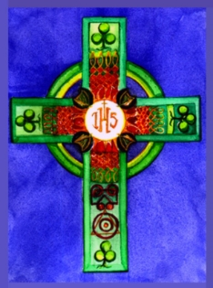 "Above: Watercolor, ""Jesuit Celtic Cross "", by Elle Fagan Gift to Sacred Space Dublin, Ireland -  Not For Sale - Special display for Jesuit 500th Anniversary Celebration Ask me about other available Celtic Crosses & Similar"