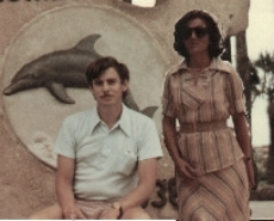 """My """"BondJamesBond""""and I looking agent-ish on a vacation. I used to think me his aide-de-camp on trips."""