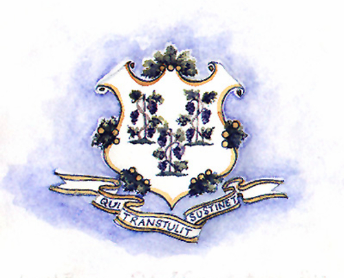 "Great Seal of the State of Connecticut, my Home State  - central to our State Flag,   the motto means  ""They who tranasplanted sustain"",  a reference to our success as transplants in the New World ,  symbolized by the grapevines,  whose transplanting has always been holy."
