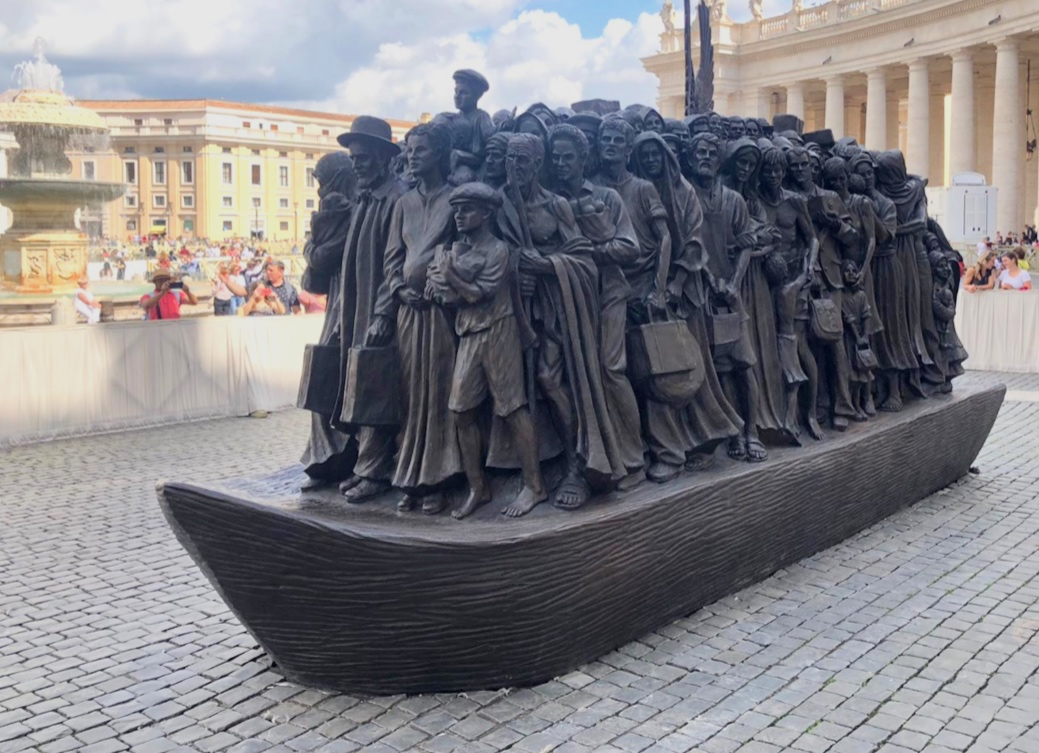 """""""Angels Unawares"""" Sculpture by Timothy Schmalz, Installation in Saint Peter's Square Vatican"""