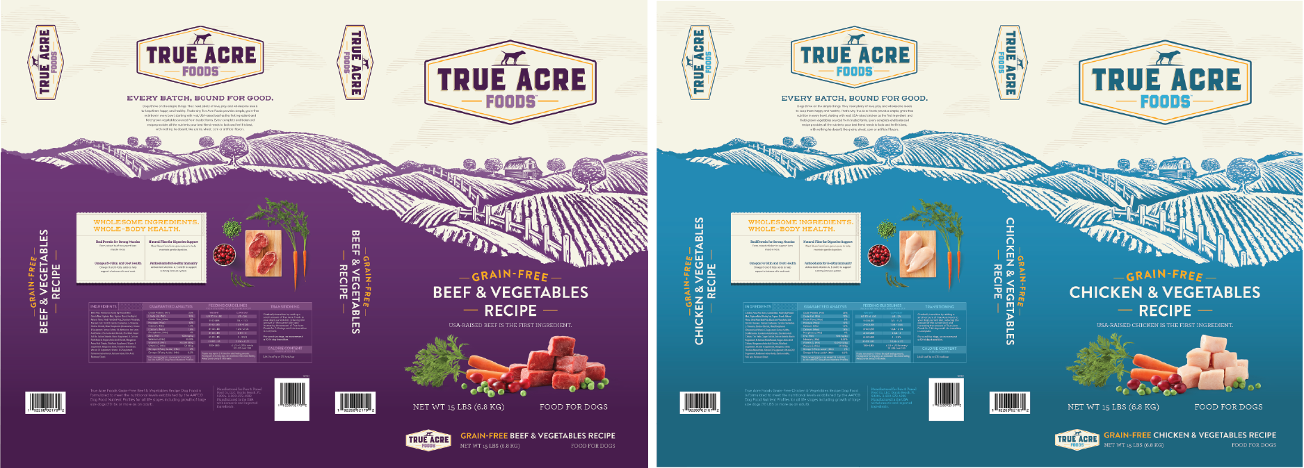 True Acre Foods Flattened Packaging | Designed by David Blank