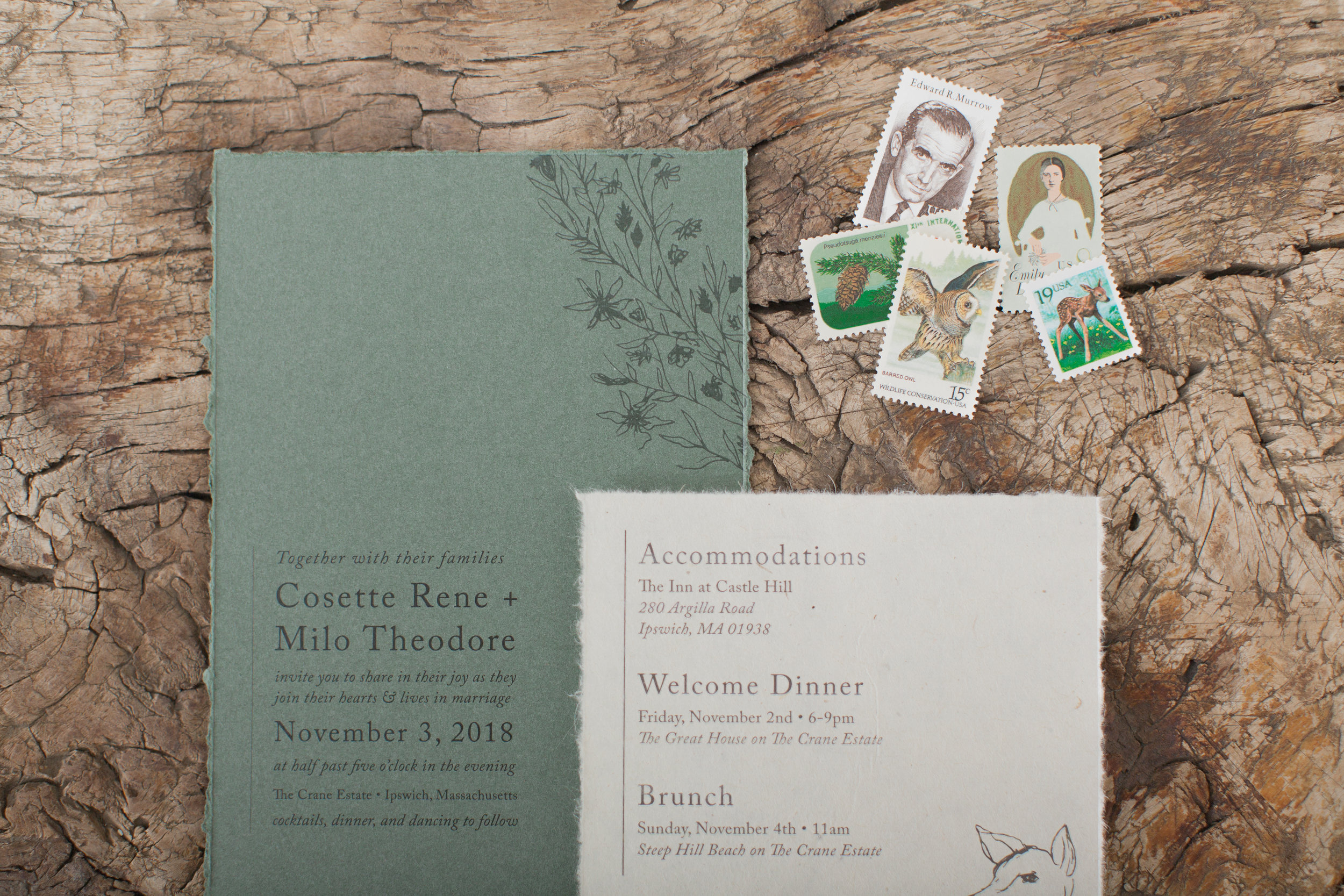 Moss green and brown wedding invitation suite and historical stamps from Sacramento wedding