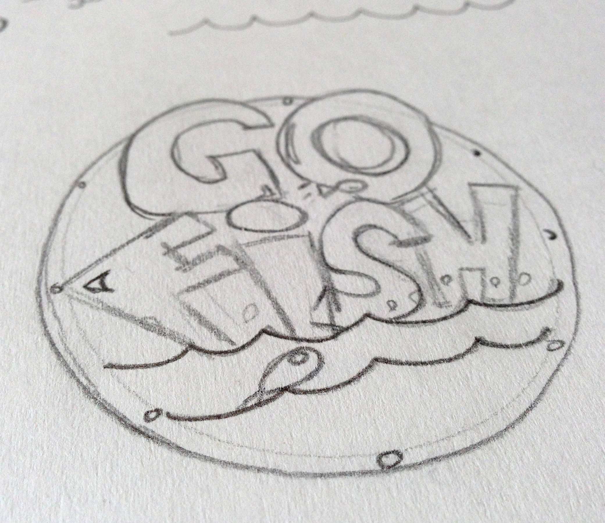 Before taking it to the computer, I did a quick sketch of my idea for the main graphic.