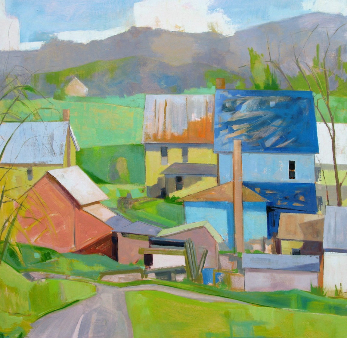 SOLD Mountain Village 36x36 oil Public Collection