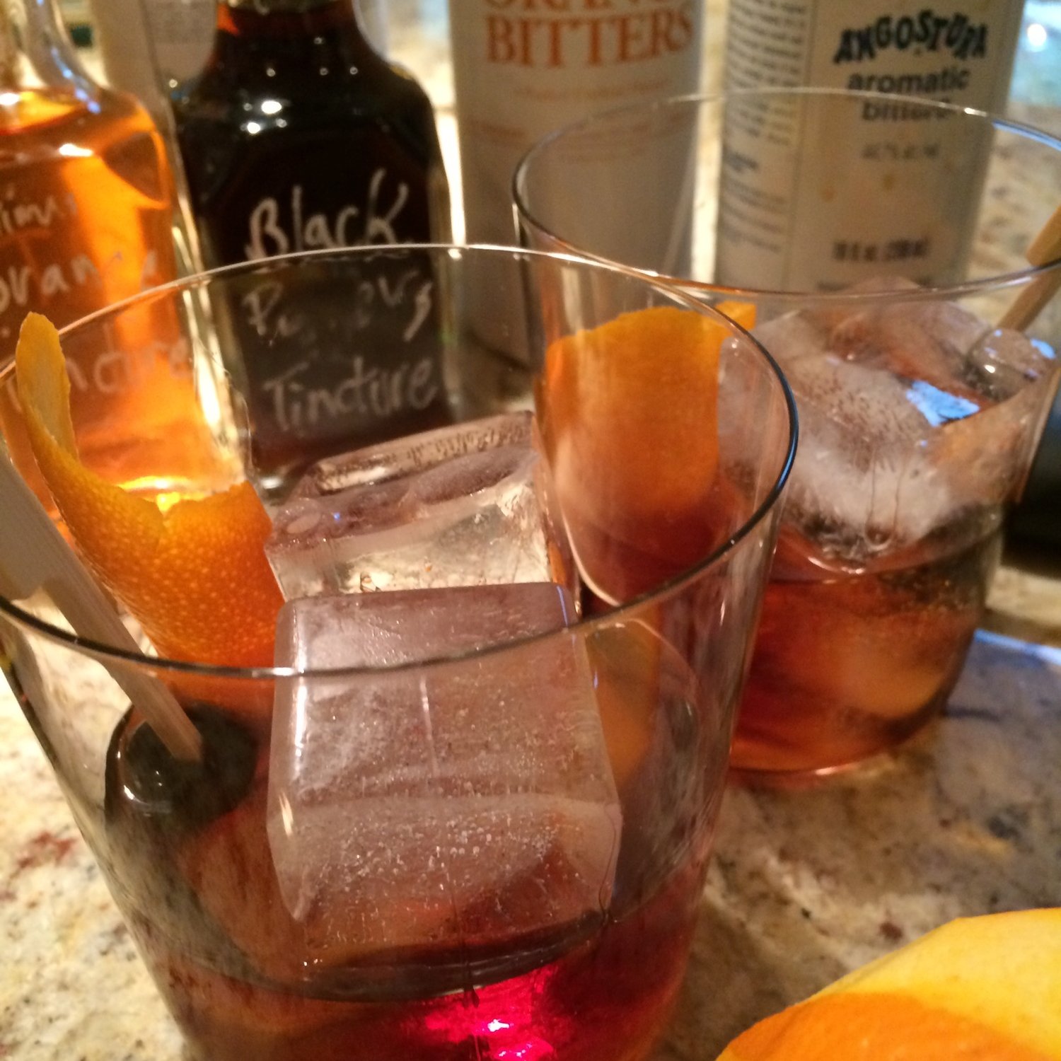 Would You Rather, Duff & Blather  2 oz of Rye (Bourbon is great too!) .5 oz Averna .5 oz Maraschino 3 dashes of orange bitters 1/2 dropper of TIM's black pepper tincture   Mix together in a small high ball glass and add an orange zest one inch wide by 3 inches long. Squeeze the zest over the glass before you add it to the drink. Serve on the rocks or very cold up. Invite Tim over.