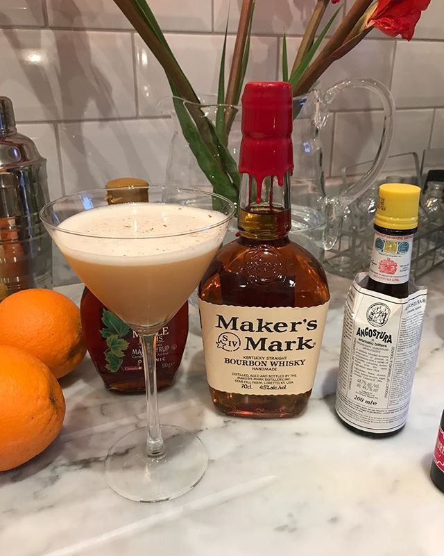 """We decided to call this one """"Fall Up"""". It's a lovely welcome to the autumn season and a take on the whiskey sour. . 2 Oz Bourbon 1 Oz Fresh lemon juice 1/2 ounce Maple Syrup 1 Egg white Cinnamon stick 4 dashes Angostura bitters 1 dropper Tim's Tincture ..... Shake ingredients in cocktail shaker, pour into coupe or martini glass. Grate fresh cinnamon on the lovely beverage."""
