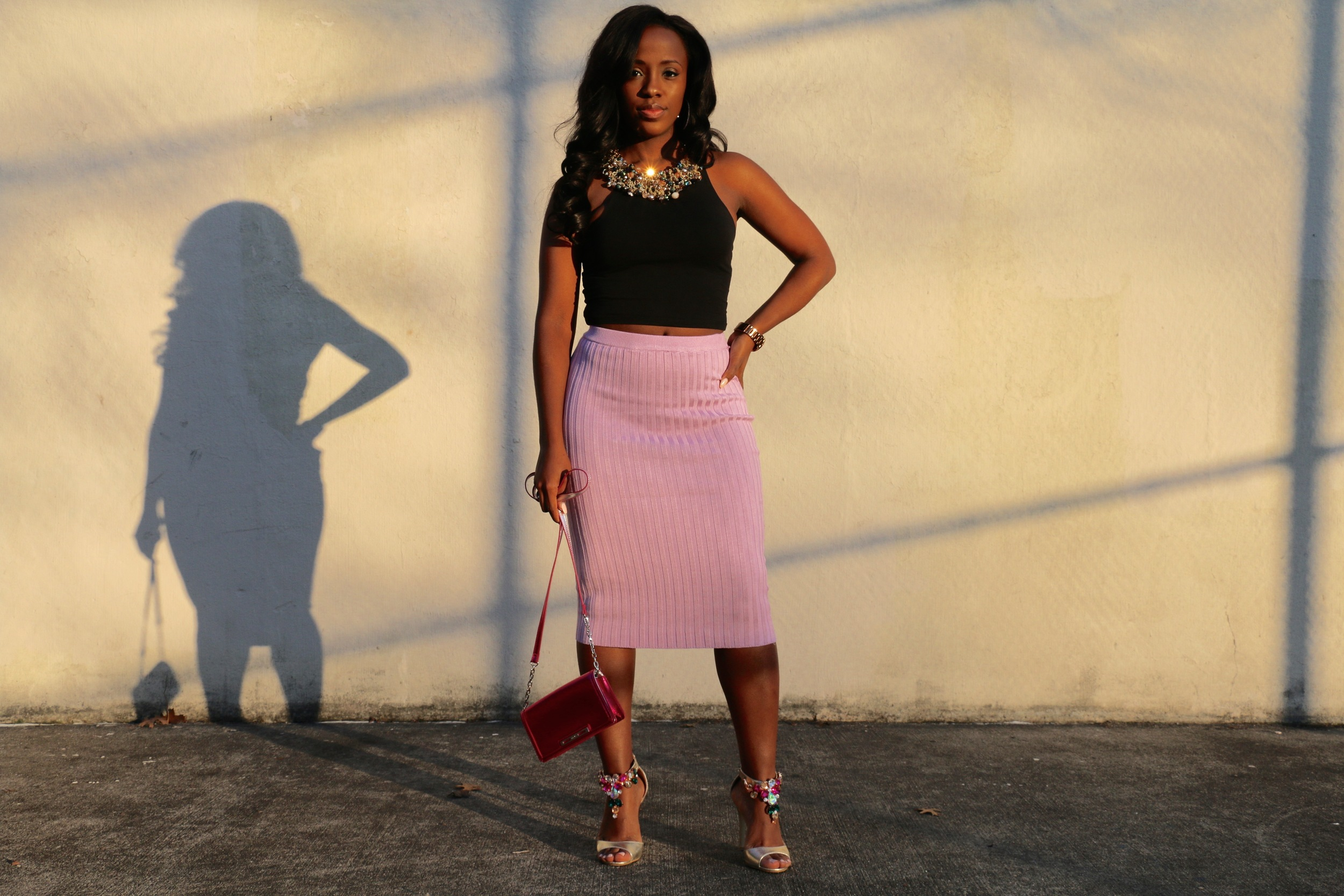 Top:  Pink by Victoria's Secret  | Skirt: MissGuided ( similar ) | Shoes: Shoedazzle ( similar ) | Necklace:  Aldo