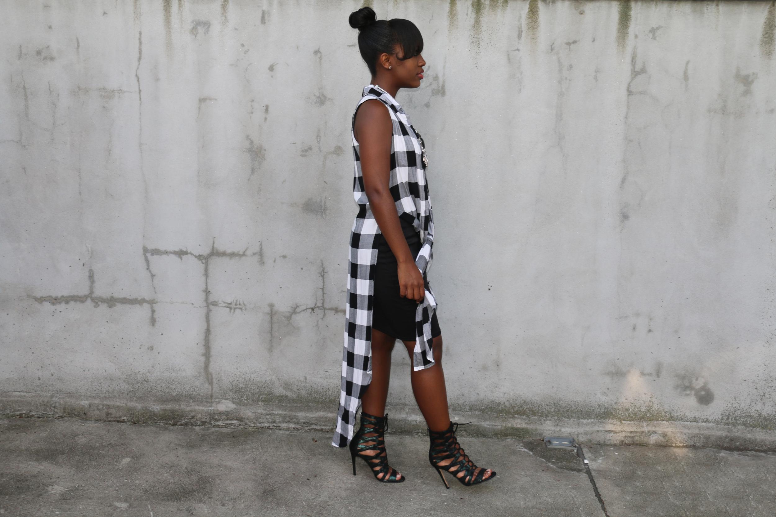 LBD and plaid vest lace-up sandals