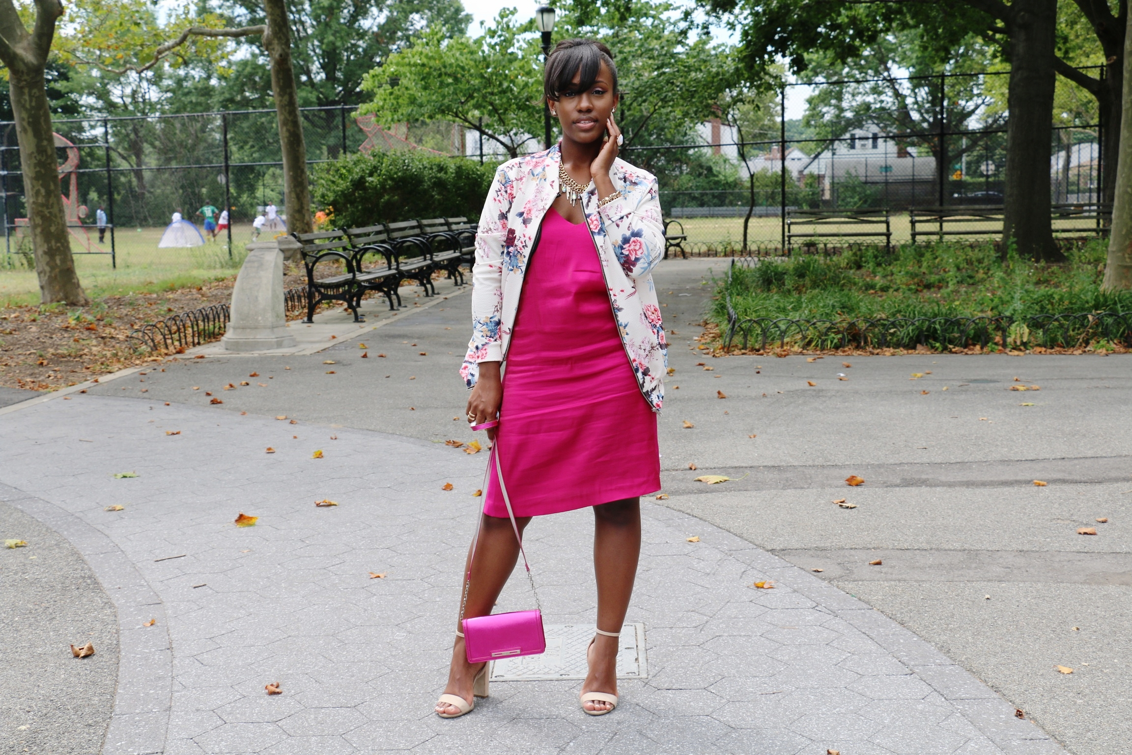 Bomber Jacket:  Boohoo  | Dress: Zara (thrifted) ( similar ,  similar )| Necklace:  Mirina Collection  | Bag: Nine West (thrifted) | Shoes: MJM | Rings: Forever 21 + Slate c/o  Rocksbox