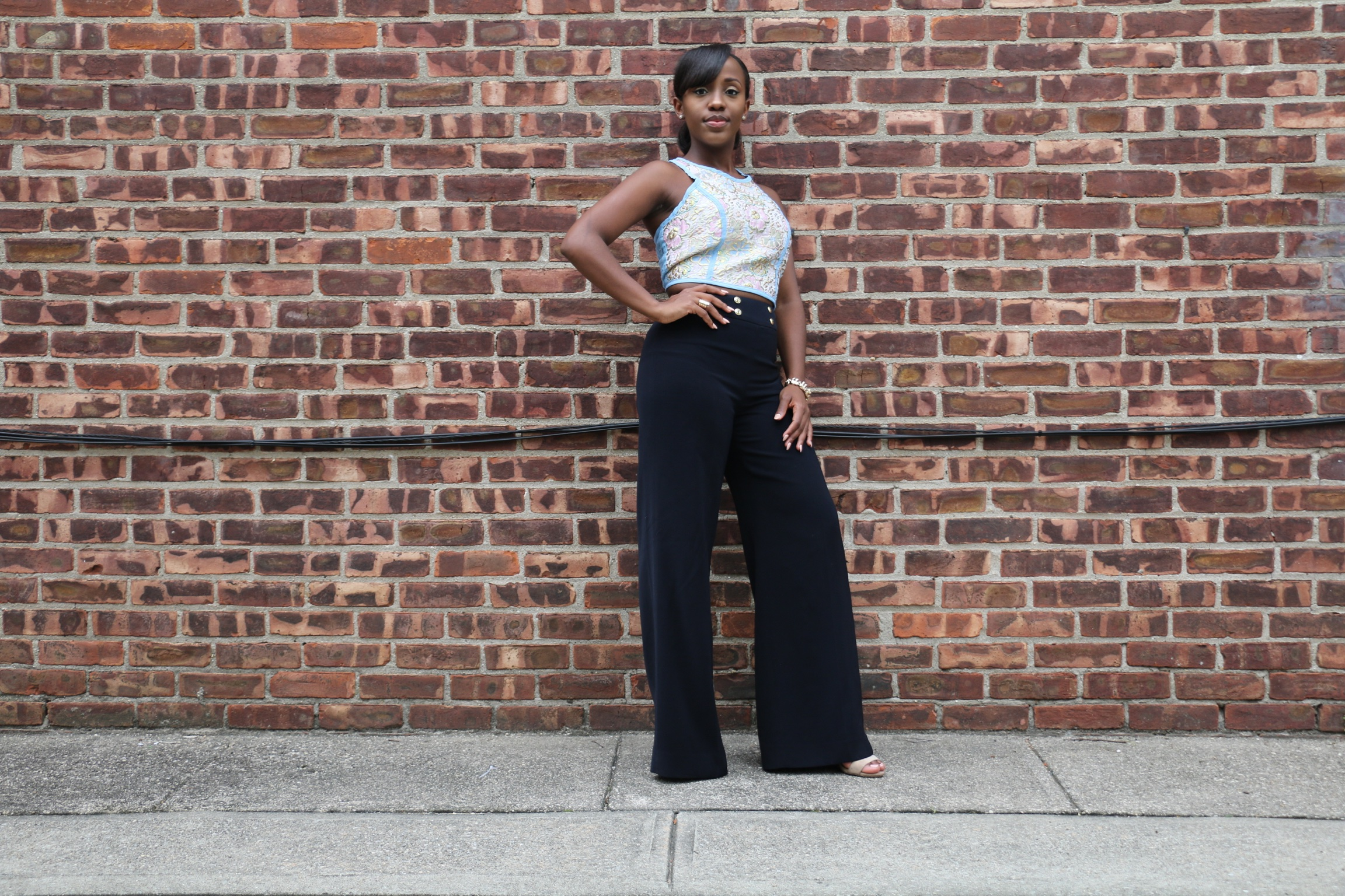 crop top_wide leg trousers