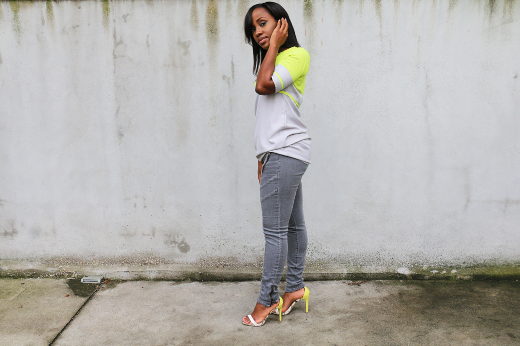 Lime green + gray jeans