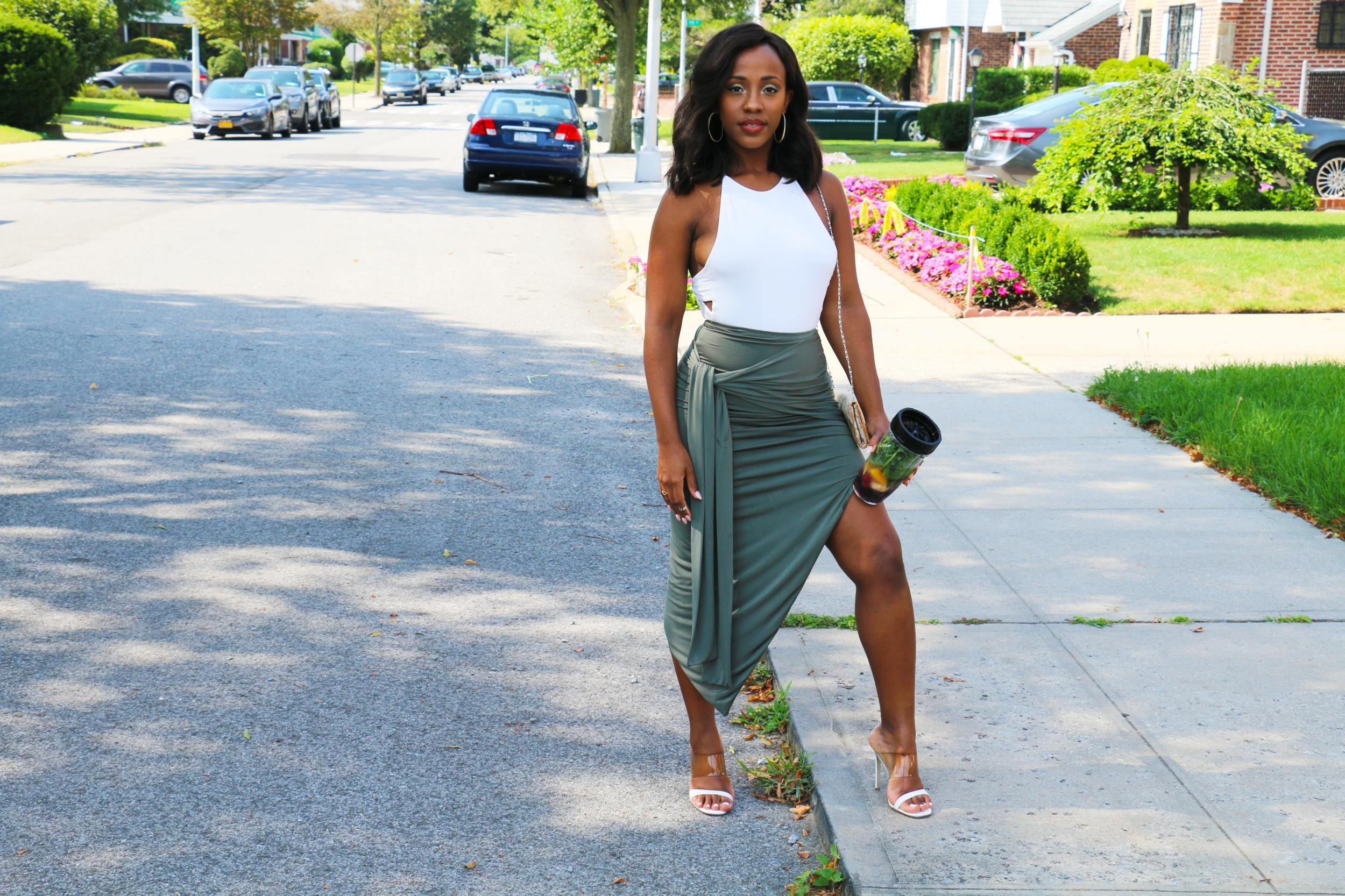 Bodysuit: Fashion Nova | Skirt: Naked Wardrobe | Shoes: Missguided | Purse: Aldo