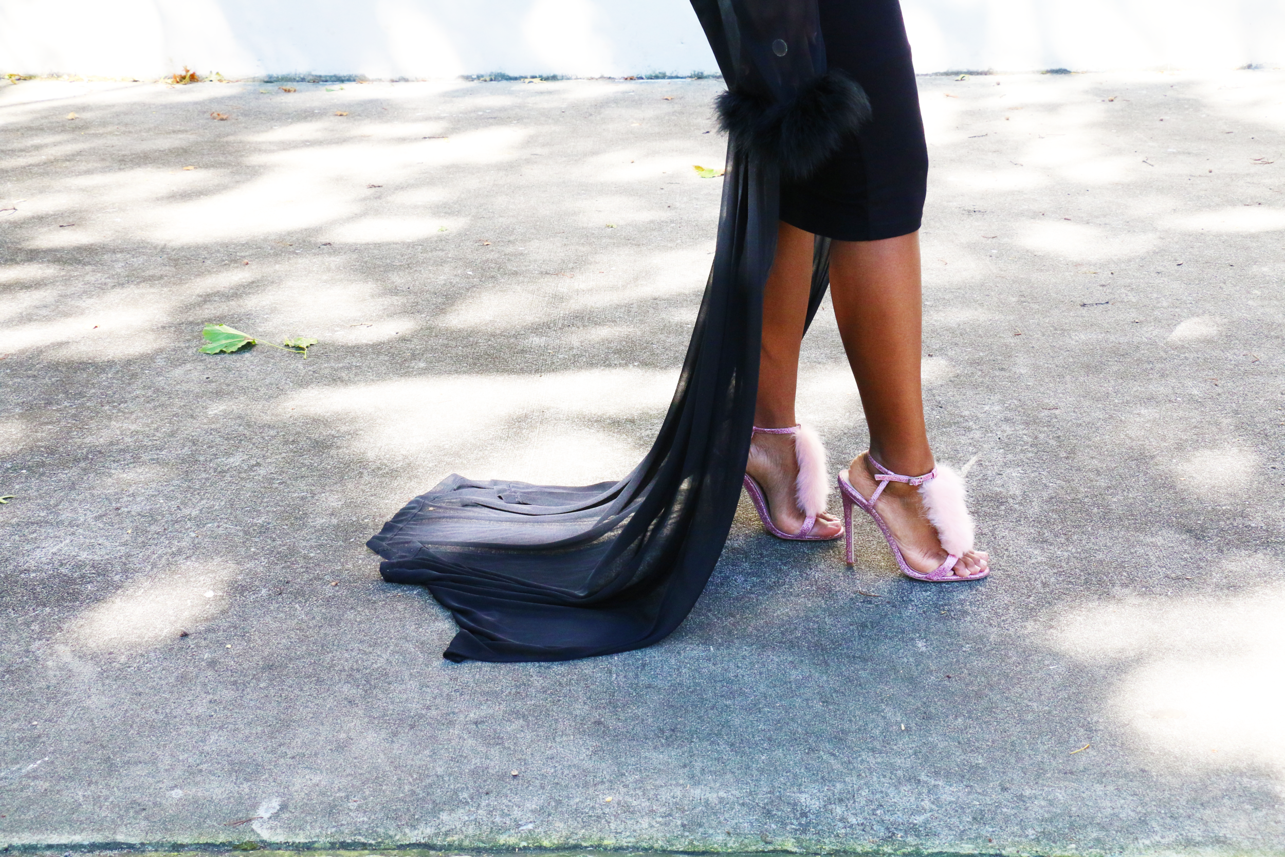 ASOS pink glitter fur heels