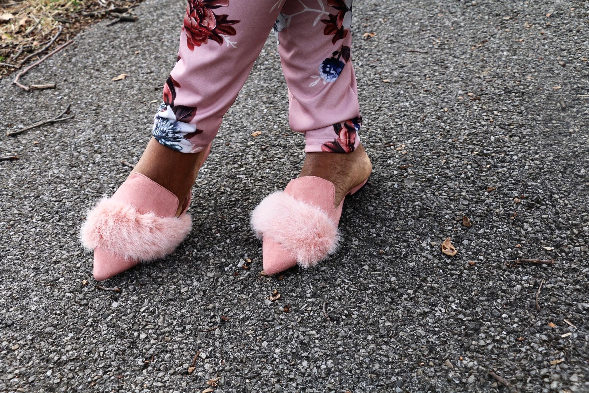 Aldo faux fur pink slides