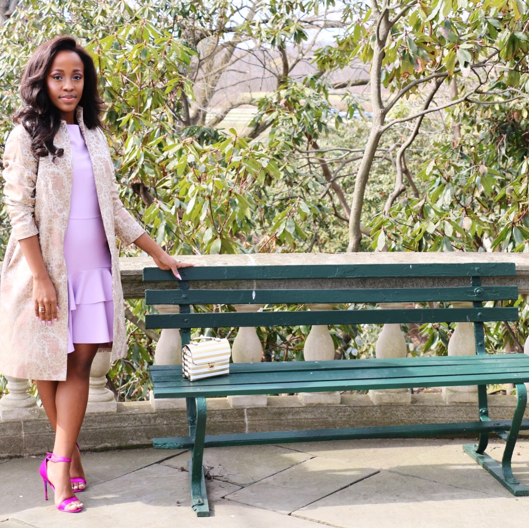 Jacket: Vintage | Dress:  Century 21  | Shoes:  Aldo  | Purse:  Rainbow