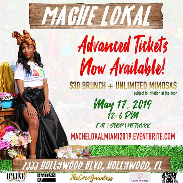We are officially exactly ONE week away from the premier Haitian brunch party & vendor market! 💃� Have you gotten your ticket to #MacheLokalMIAMI | Beauty & Style Brunch + 🇭🇹 Vendor Pop-up?! Get them today! Don't be the one to pay more at the door! 🔗 to tickets is in my bio!