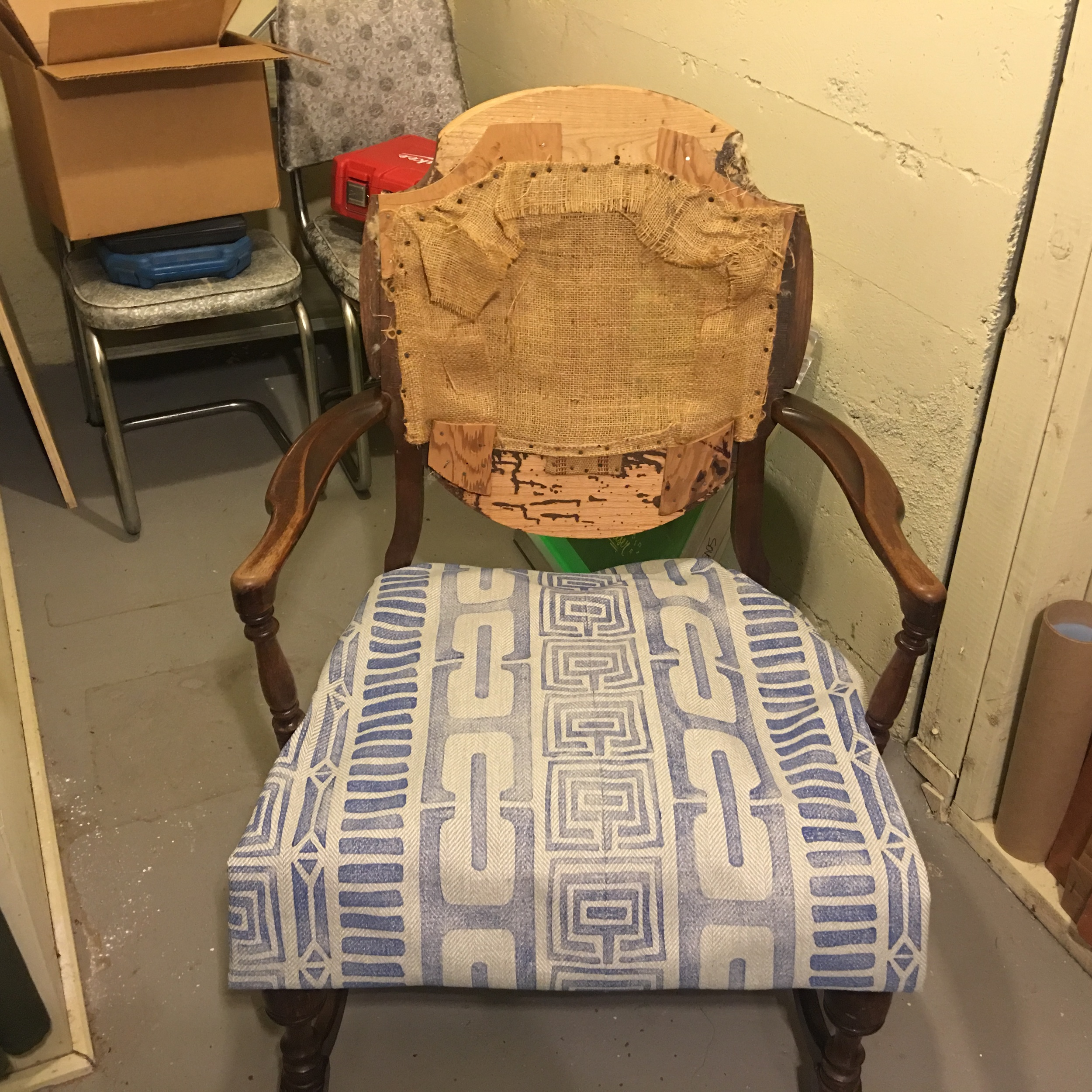 Testing the fabric on the chair