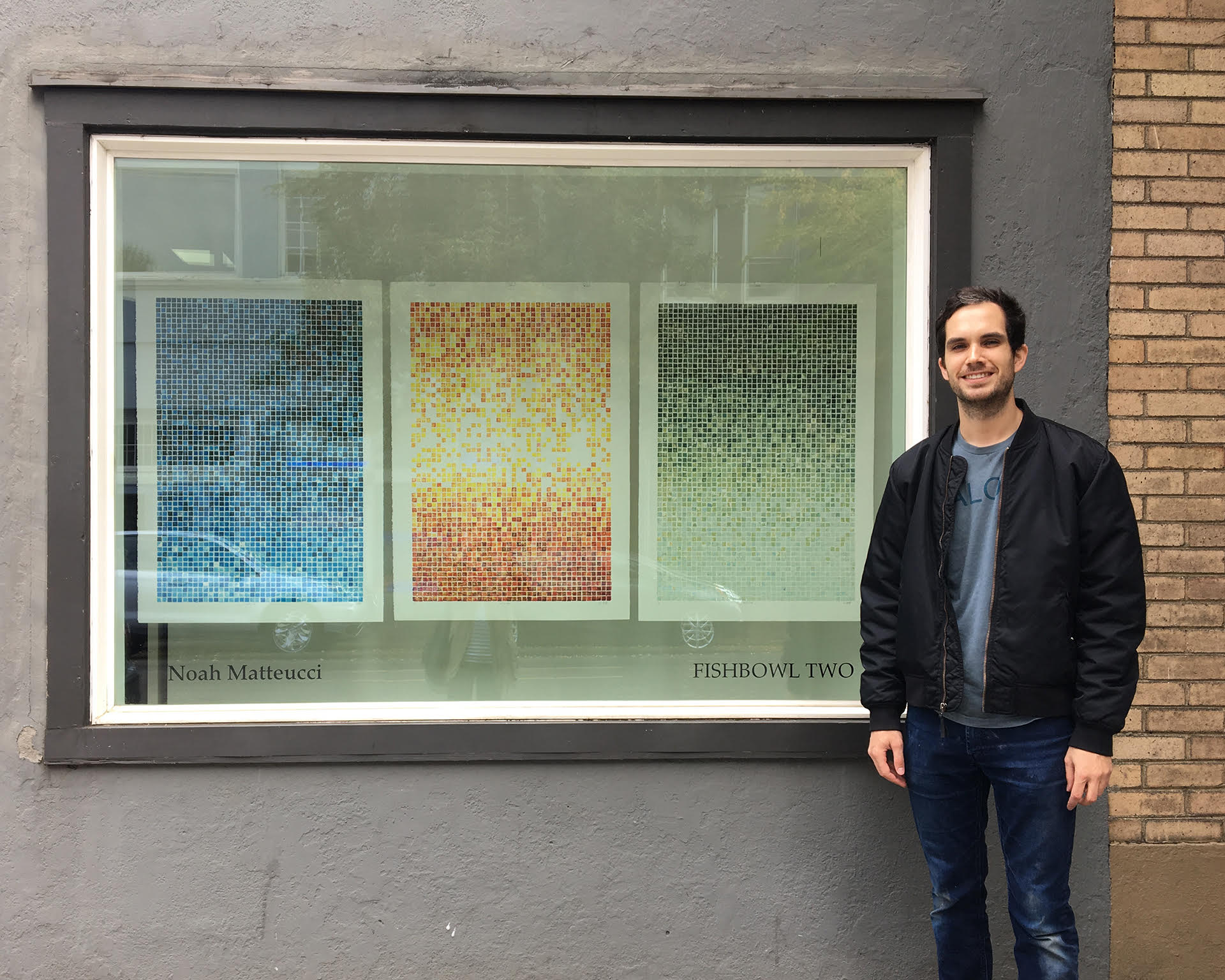 Me and my pixelated sky woodblock prints in the Blackfish Gallery window display.