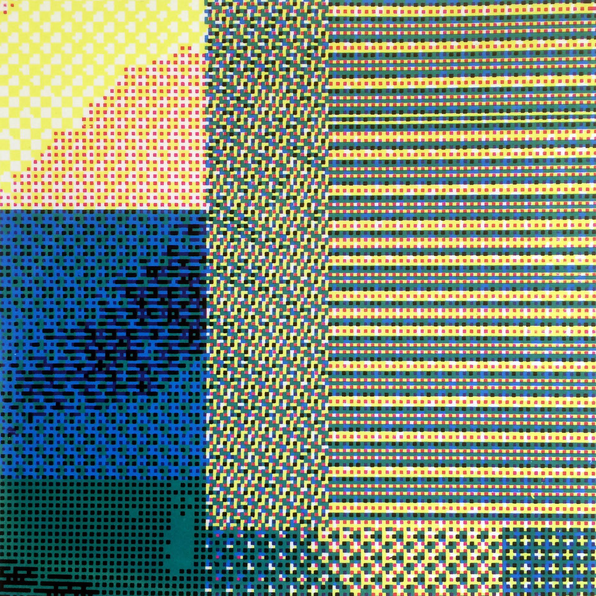 "Glitch_20, a four color CMYK screen print, 8""x8""."