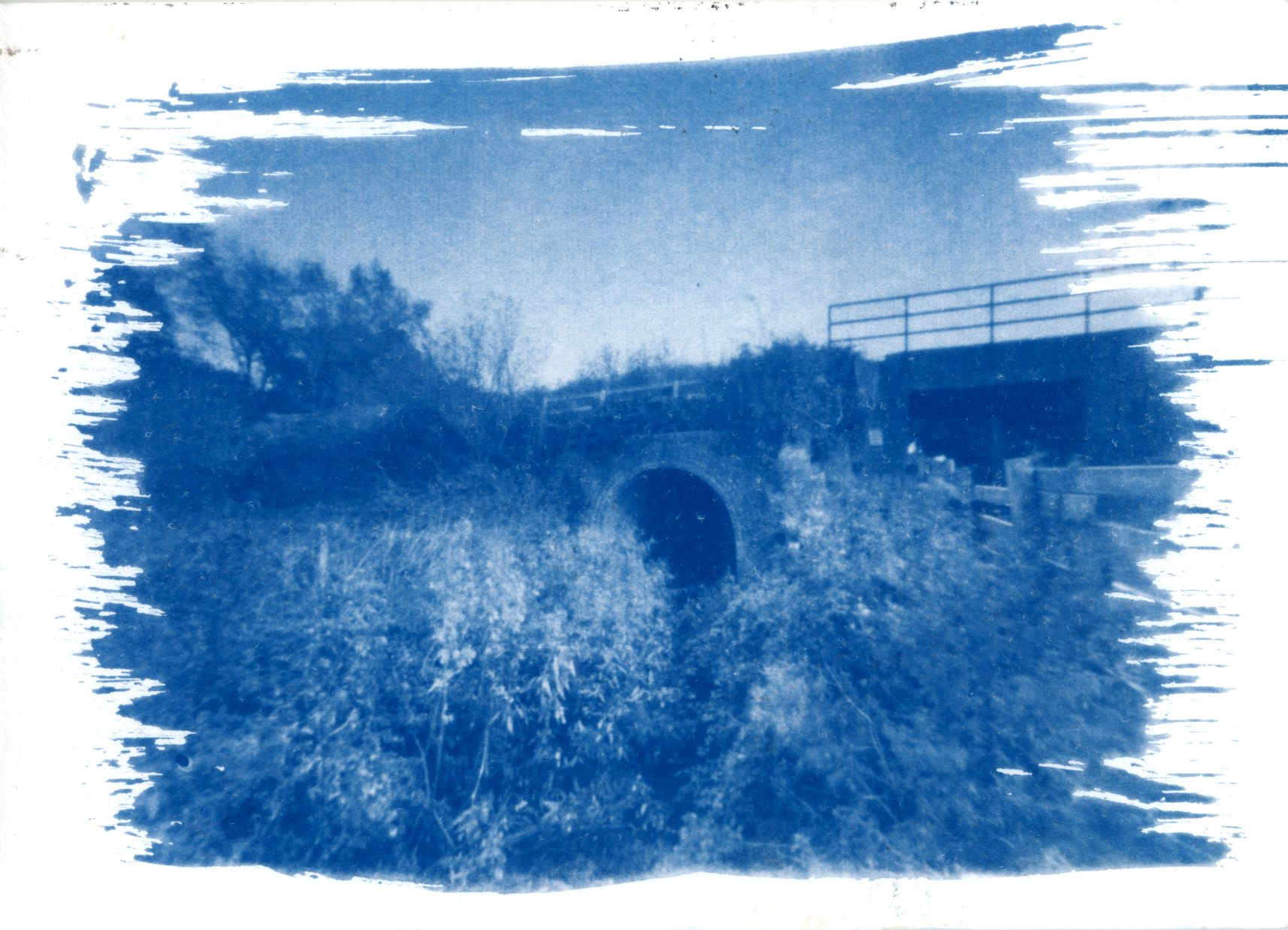 Cyanotype by  Neil Piper . Made with a pinhole camera and then printed on a watercolor paper.