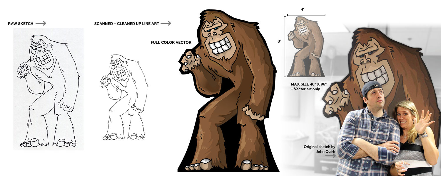 """The Sasquatch was sketched out Klear's press operator: John Quirk. Since people seemed to dig the Sasquatch in our inter office banter, so why not bring it to life? After refining John's drawing into vector line art I colored """"Sas"""" in. For this piece I went with an all vector design for a crisp look. Sasquatches are probably pretty big, and this one was no exception; it was designed to fill up a 4'x 8' Sintra sheet, and stand up on its own."""
