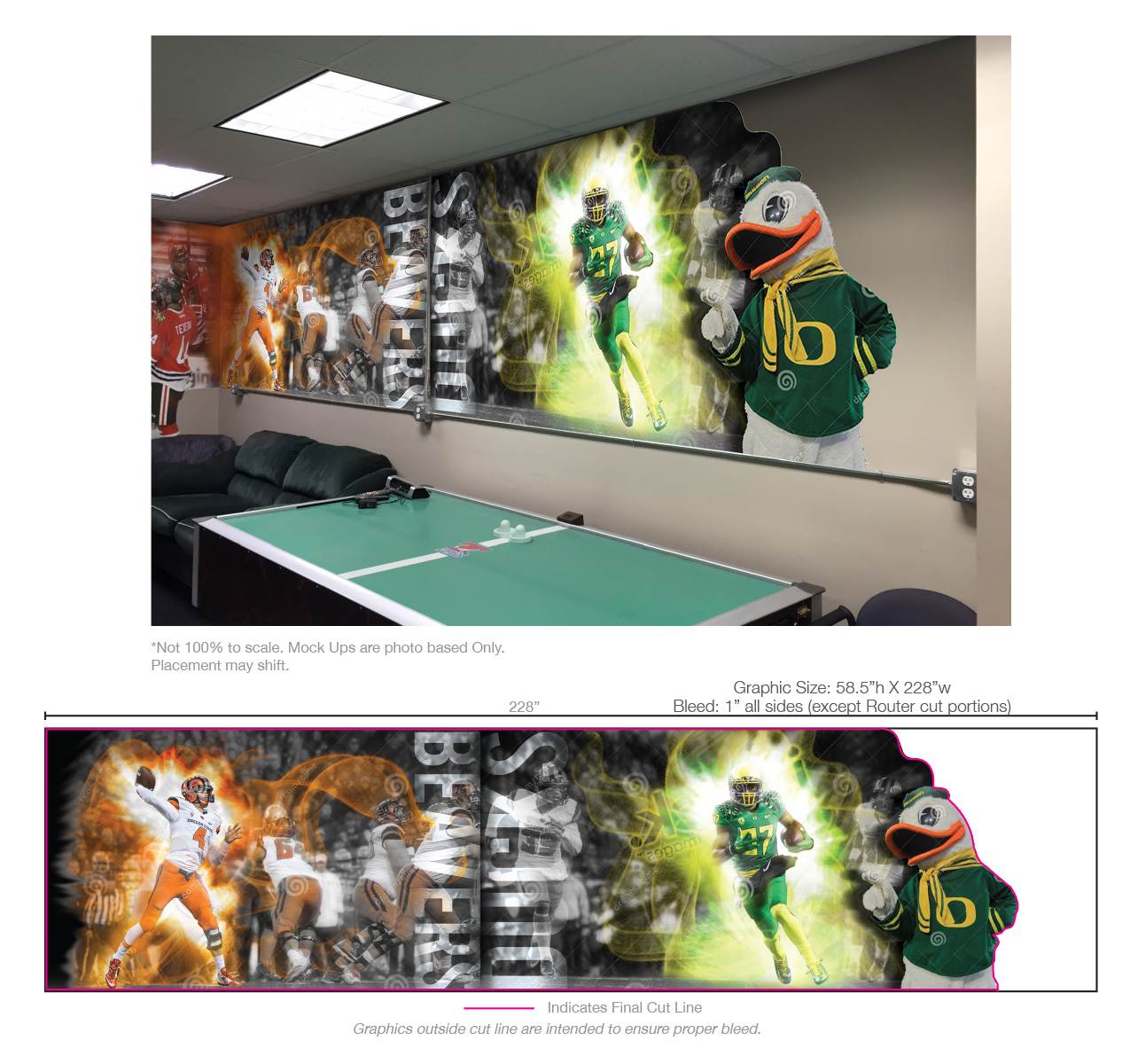 Civil War Wall -  Large breakroom wall featuring Ducks and Beavers in action. Action shots, and the mascot photos were found via a local photographer. Also supplemented by stock graphics which tied into adjacent walls including the hockey wall on the left side. Graphics made use of the power outlet as a breakup point, also utilized a custom router cut to the right side. Unfortunately, this wall was physically remodeled,so final production files were not created, hence the placeholder images.