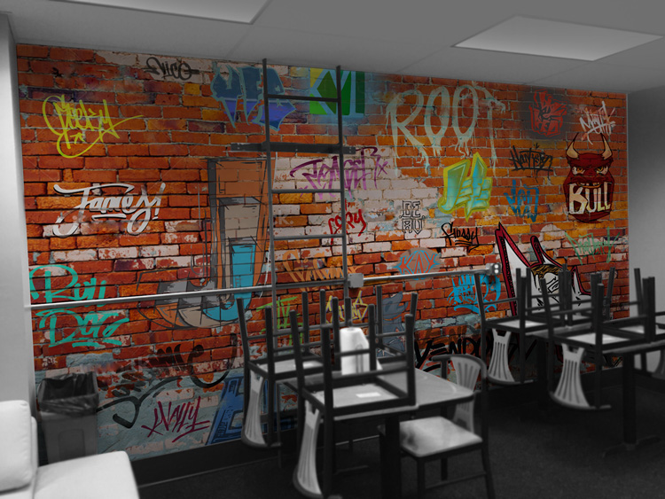The Graffiti Wall -  A super-custom idea on the part of the company, this breakroom wall featured over 20 tag names of long standing employees. I teamed up with another in-house artist,Barns Portillo. Having a lot on my plate, Barns created a majority of the over 20 tags.