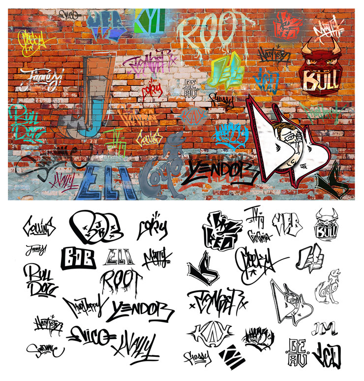 My style differed from Barns' which helped enhance the effect. All tags were sketches of some nature, requiring vectorization and correction. The tags were then colored by myself in various styles and interggrated into the wall.