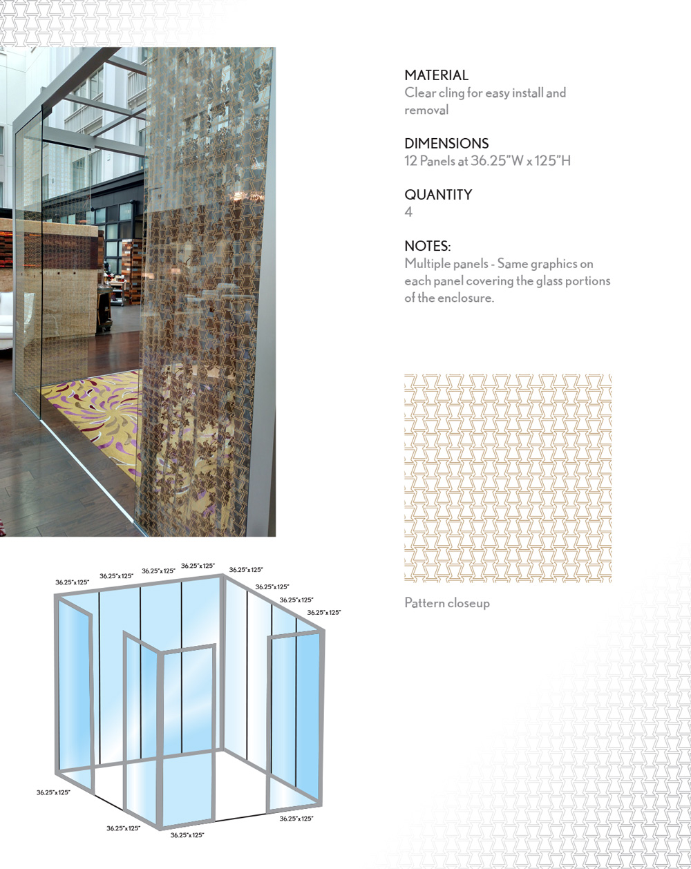 Glass Enclosures -  Although slightly different, the second enclosure used the same pattern. To avoid confusion for installers and printer, a detailed install break-down was drawn outlining each panel.