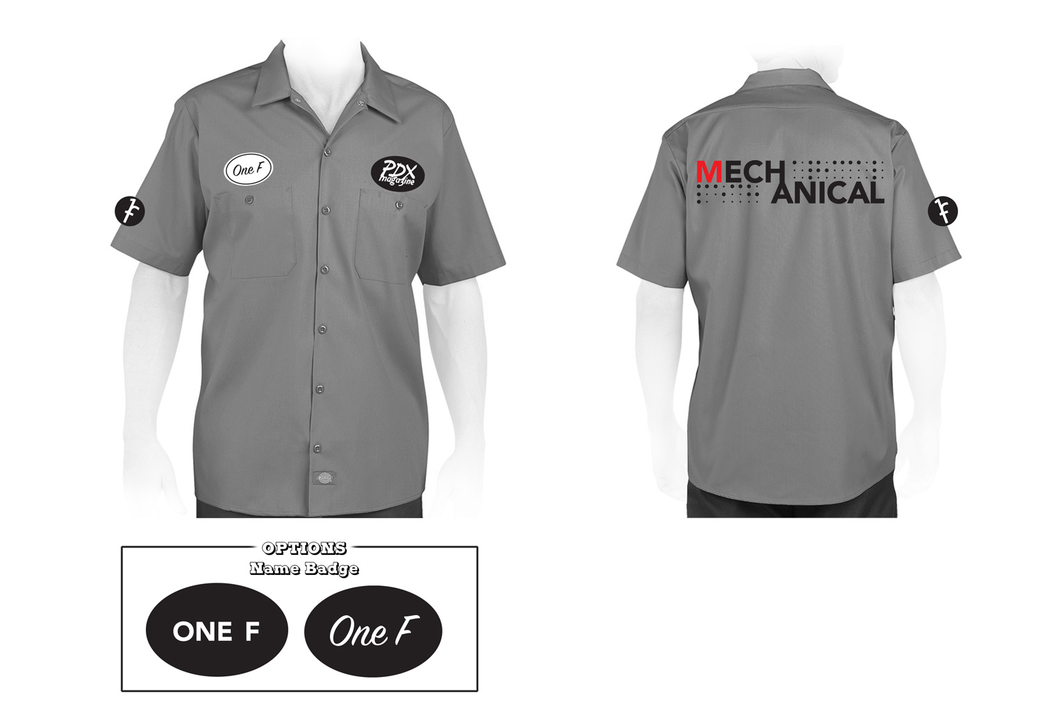 Mechanical Work Shirts -  Design based on direction from a fellow Mechanicalite. Name badges were specific for each person, however the graphics layout stayed the same on all shirts.