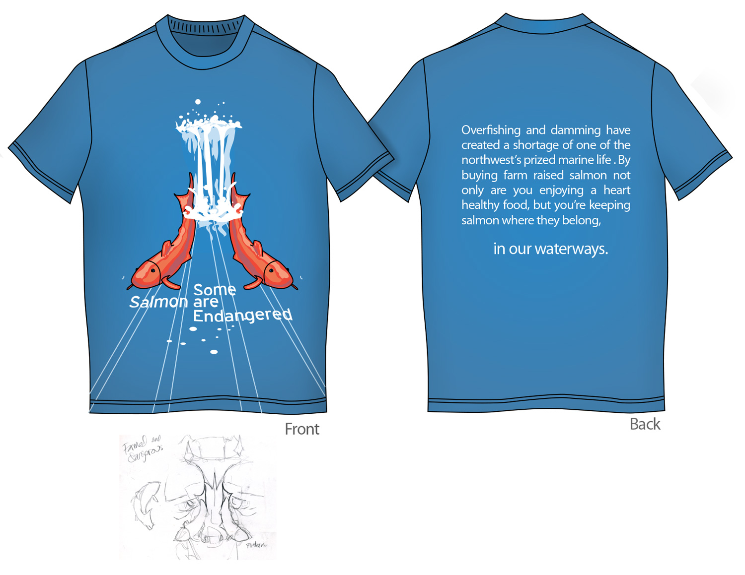 Pro-Farm Salmon T-Shirt -  This T-shirt was designed as part of a school project. Like other T's this one was based off of a sketch which was then colorized. On the back was some simple type reinforcing the pro-farm salmon campain direction.