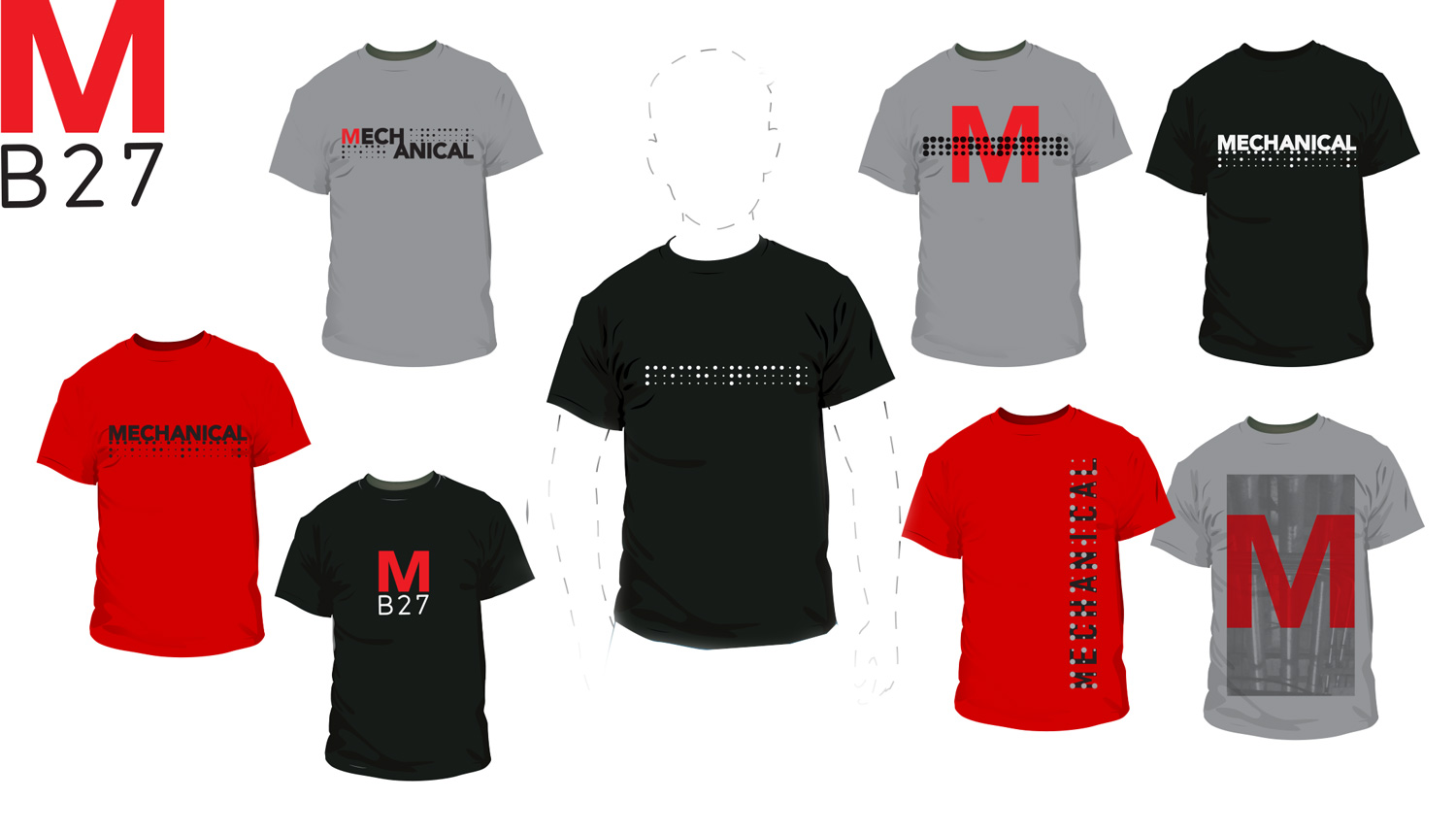 Mechanical T-Shirts -  Initial batch of logo T's. A little on the plain side;these were using graphics from stickers, cards, and social media posts.