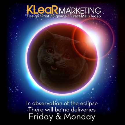 Klear Marketing -  Eclipse 2017 eBlast/Timeline Post. Cat meme photo integrated with modified stock image.