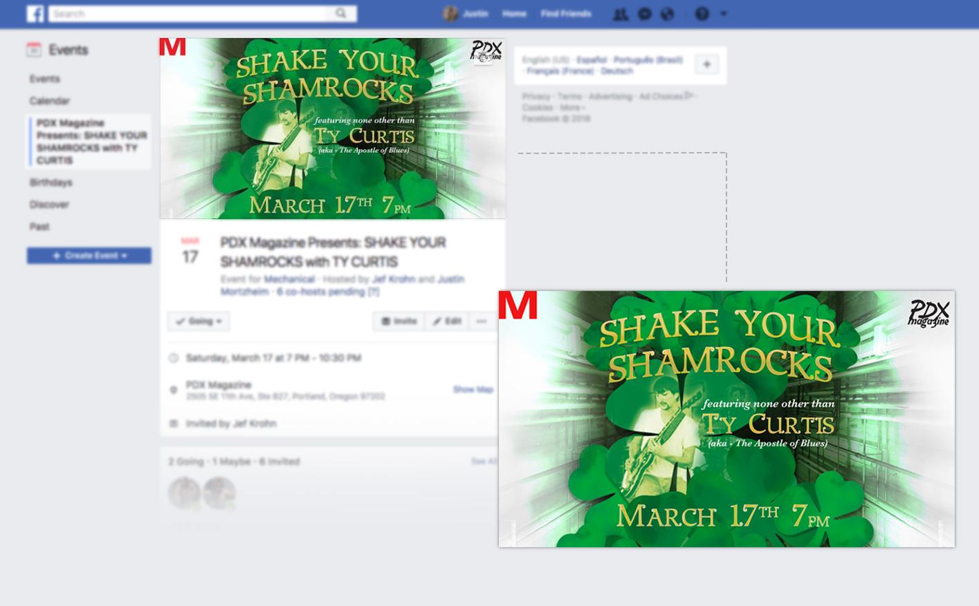 "Mechanical/PDX Magazine -  ""Shake Your Shamrocks"" event banner"