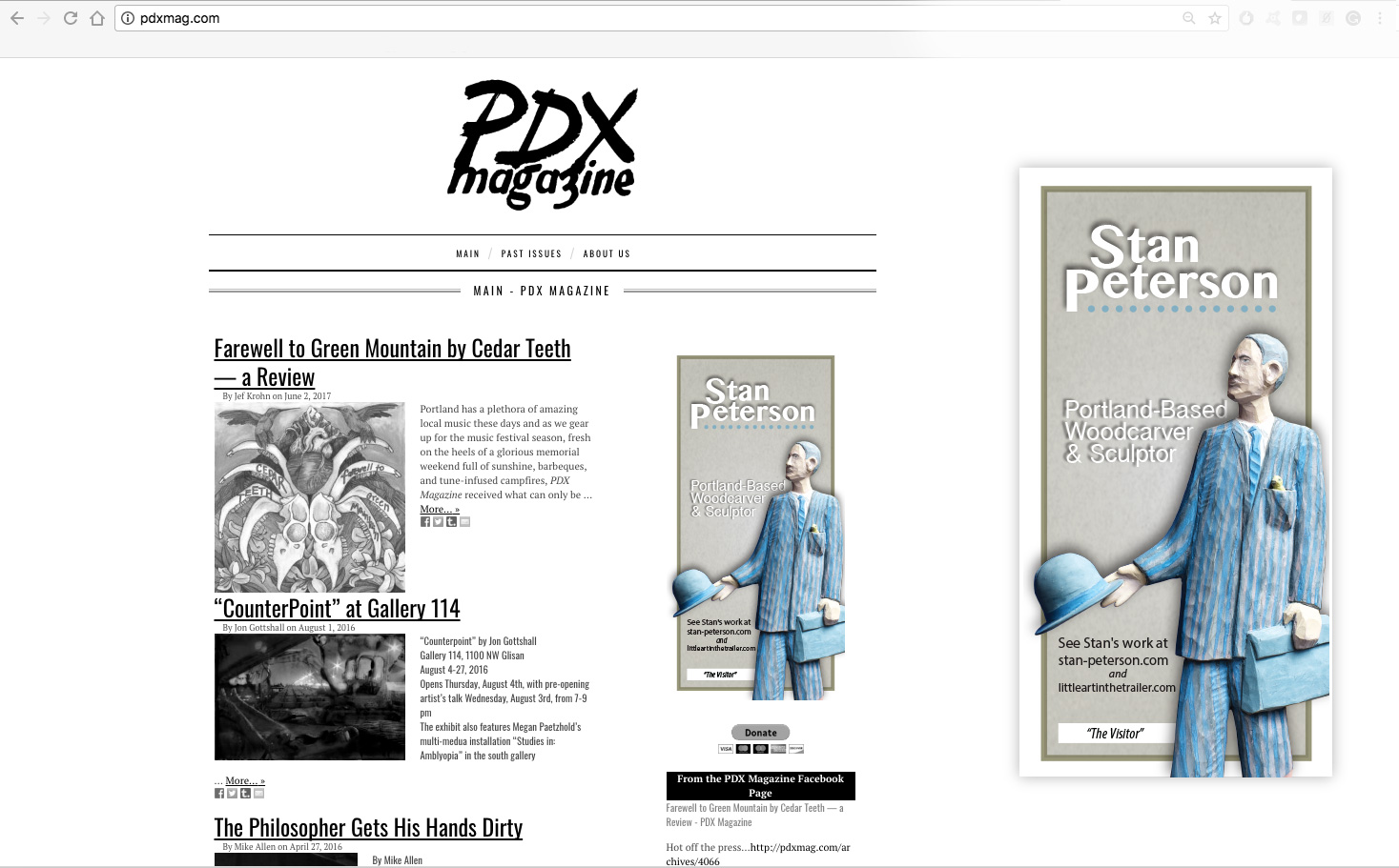 PDX Magazine -  Stan Peterson Artist Ad.Selected work from artist, some verbaige provided extra verbaige provided from artist's website.