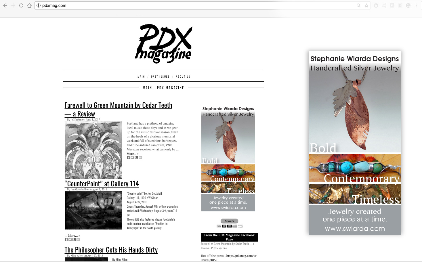 PDX Magazine -  Stephanie Wiarda Craft Ad. Verbaige and images selected from artist's website.
