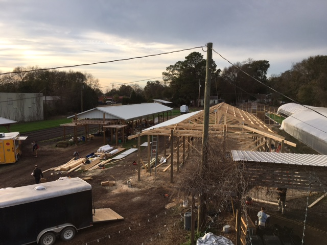 View from the Roof onThursday 1/12/17 at 5pm:  Farmers Market, Building Construction, High Tunnel