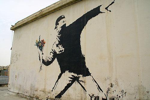 "Banksy Rage  (grafity artist) ""Flower Thrower"" - Jerusalem, Israel"